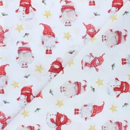 Tissu coton cretonne Little Santa - blanc x 10cm