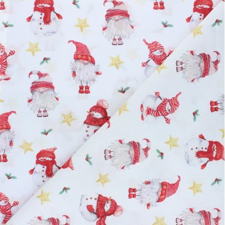 Cretonne Cotton fabric - white Little Santa x 10cm