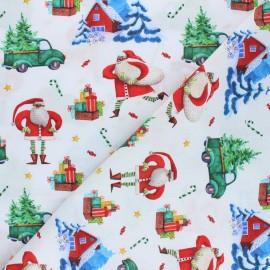 Tissu coton cretonne Course aux cadeaux - blanc x 10cm
