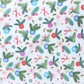 Cretonne Cotton fabric - white Jour de fête x 10cm