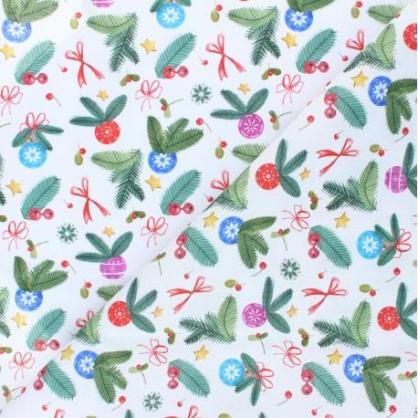 Cretonne Cotton fabric - white Jour de fête x 10cm