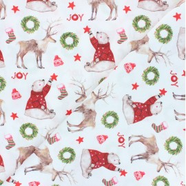Tissu coton cretonne Christmas joy - blanc x 10cm