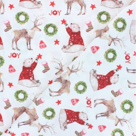 Cretonne Cotton fabric - white Christmas joy x 10cm