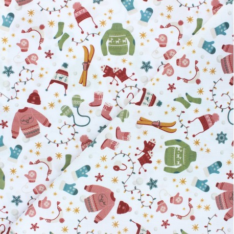 Cretonne Cotton fabric - white Winter outfits x 10cm