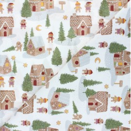 Tissu coton cretonne Gingerbread village - blanc x 10cm