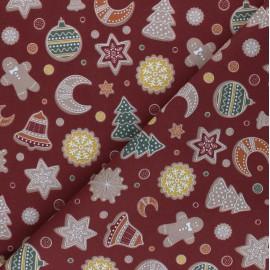 Tissu coton cretonne Gingerbread biscuits - acajou x 10cm