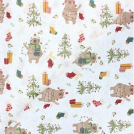 Tissu coton cretonne Ours de Noël - blanc x 10cm