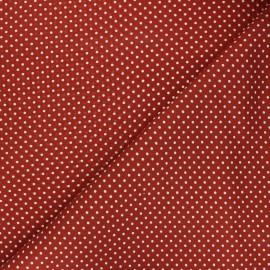 Poplin Cotton fabric - red brick Little pois x 10cm
