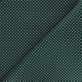 Tissu coton popeline Little pois - vert foncé x 10cm