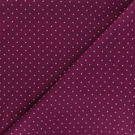 Poplin Cotton fabric - purple Pisello x 10cm