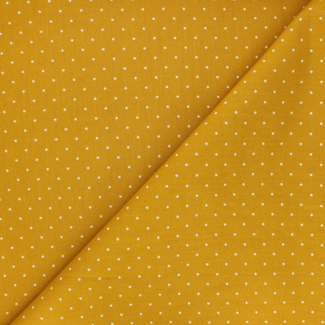Poplin Cotton fabric - mustard yellow Pisello x 10cm