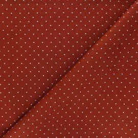 Poplin Cotton fabric - red brick Pisello x 10cm