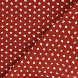 Poplin Cotton fabric - red brick Little étoile x 10cm
