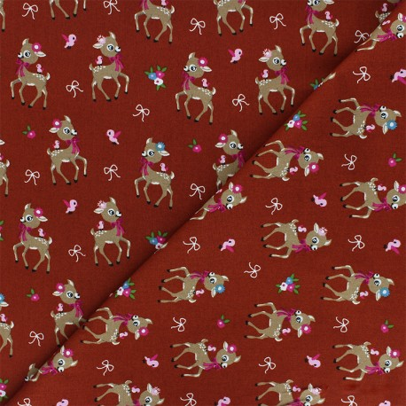 Poplin Cotton fabric - red brick Bibiche x 10cm