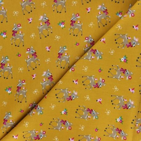 Poplin Cotton fabric - mustard yellow Bibiche x 10cm