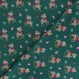 Poplin Cotton fabric - green Bibiche x 10cm