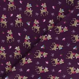Poplin Cotton fabric - purple Bibiche x 10cm