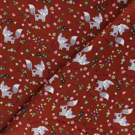 Poplin Cotton fabric - red brick Sweety foxy x 10cm