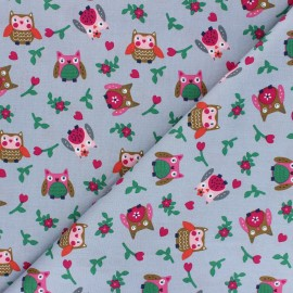 Poplin Cotton fabric - grey Huhula x 10cm