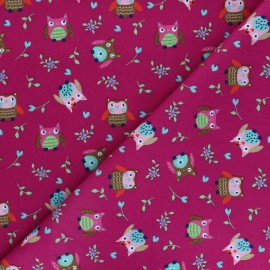 Poplin Cotton fabric - red purple Huhula x 10cm