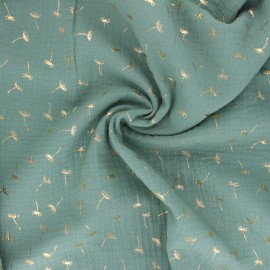 Double gauze fabric - sage green Golden Dandelion x 10cm
