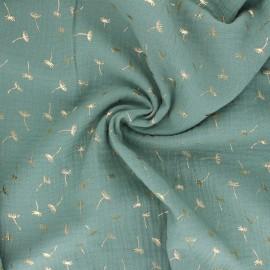 Tissu double gaze de coton Golden Dandelion - vert sauge x 10cm