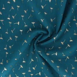 Tissu double gaze de coton Golden Dandelion - vert paon x 10cm