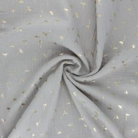 Tissu double gaze de coton Golden Dandelion - grège x 10cm