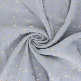 Tissu double gaze de coton Golden Dandelion - gris perle x 10cm