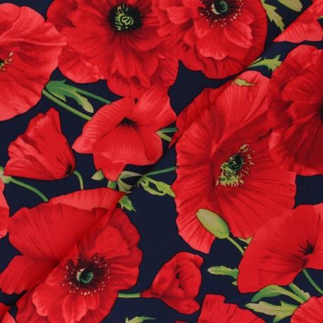 Tissu Gabardine Coquelicot - bleu nuit x 20cm