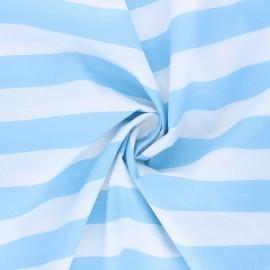 Poppy cotton fabric - sky blue Stripe x 10cm