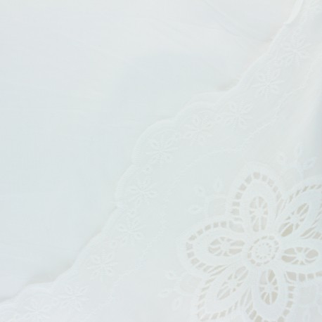 Scalloped embroidered voile cotton fabric - off-white Jade x 10 cm