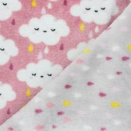 Tissu Doudou double face Nimbus - rose x 10cm