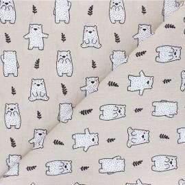 Cretonne cotton fabric - beige Maturin x 10cm