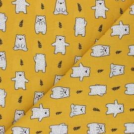 Cretonne cotton fabric - mustard yellow Maturin x 10cm