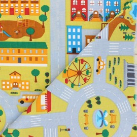 Cretonne cotton fabric - grey City Map x 10cm