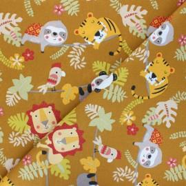 Cretonne cotton fabric - ochre Relaxed Animals x 10cm