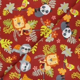 Cretonne cotton fabric - brick red Relaxed Animals x 10cm