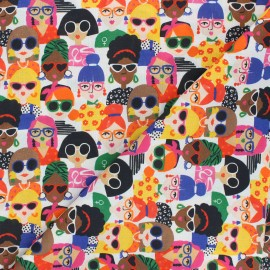 Patterned cotton fabric - multicolor Girl Power x 10cm