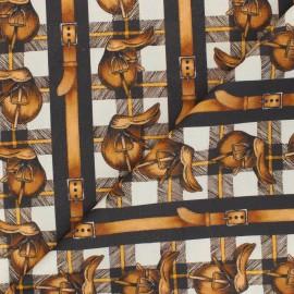 Patterned cotton fabric - beige Saddle Up x 10cm