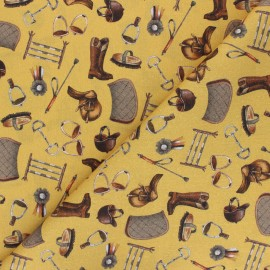 Patterned cotton fabric - mustard yellow Riding Equipment x 10cm