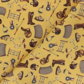 Tissu coton Riding Equipment - jaune moutarde x 10cm