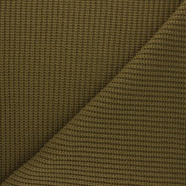 Ribbed knit fabric - khaki green Mila x 10cm