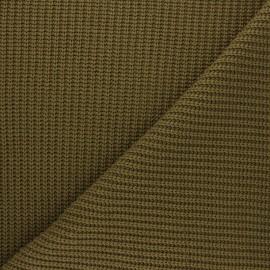 Tissu Maille côtelé Mila - vert kaki x 10cm