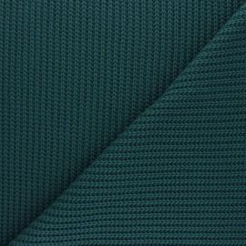 Tissu Maille côtelé Mila - vert paon x 10cm