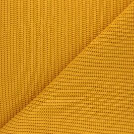 Tissu Maille côtelé Mila - jaune moutarde x 10cm
