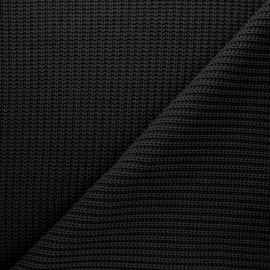 Ribbed knit fabric - black Mila x 10cm