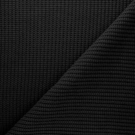 Tissu Maille côtelé Mila - noir x 10cm