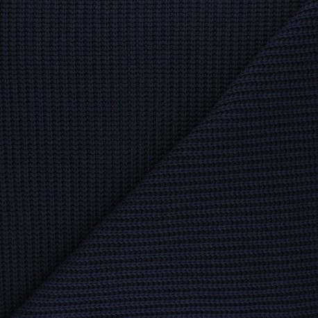 Ribbed knit fabric - navy blue Mila x 10cm
