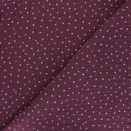 Poppy Double gauze fabric - fig Little Dots x 10cm